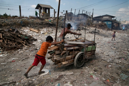 DSC_8662, Philippines, 01/2014, PHILIPPINES-10139NF4. A boy pushes a cart with wood. Retouched_Ekaterina Savtsova 2/9/2014
