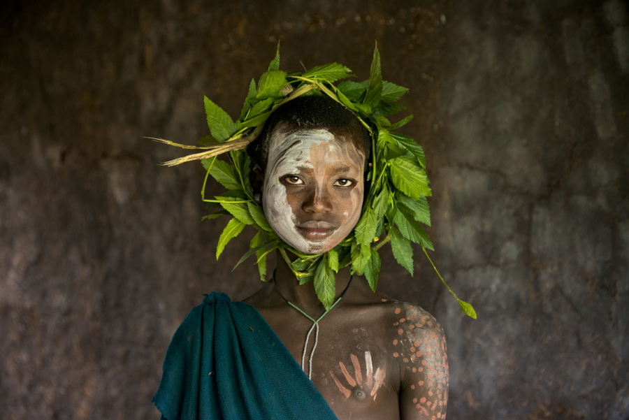 DSC_7400, Omo Valley, Ethiopia, 08/2013, ETHIOPIA-10319NF. Child with wreath of leaves around head. retouched_Kate Daigneault 08/20/2013