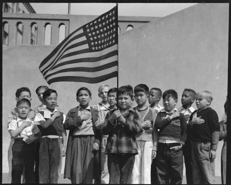 San Francisco, California. Flag of allegiance pledge at Raphael Weill Public School, Geary and Buch . . .