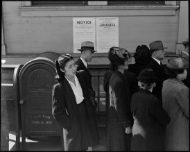 San Francisco, California. Residents of Japanese ancestry appear for registration prior to evacuation. Evacuees will be housed in War Relocation Authority centers for the duration.