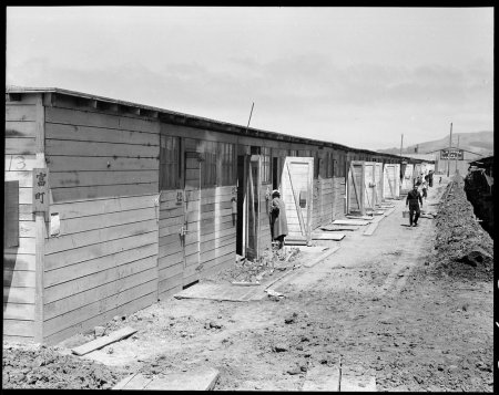 San Bruno, California. This scene shows one type of barracks for family use. These were formerly t . . .