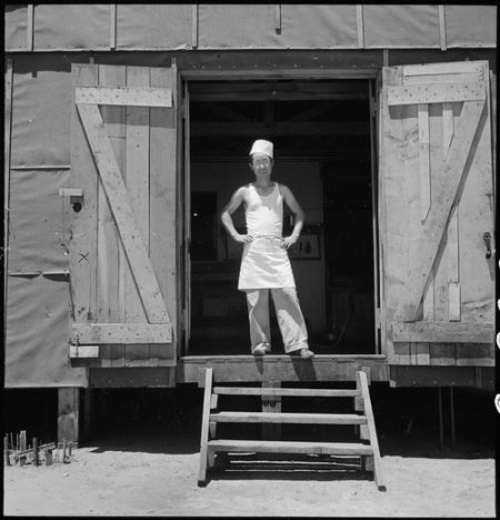 Manzanar Relocation Center, Manzanar, California. A chef of Japanese ancestry at this War Relocation . . .