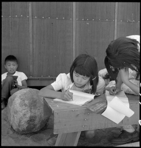 Manzanar Relocation Center, Manzanar, California. An elementary school has been established with vo . . .