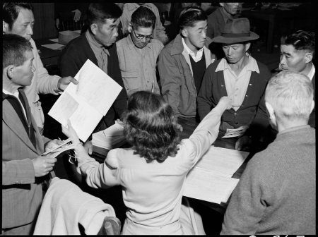 Byron, California. These field laborers of Japanese ancestry at Wartime Civil Control Administratio . . .