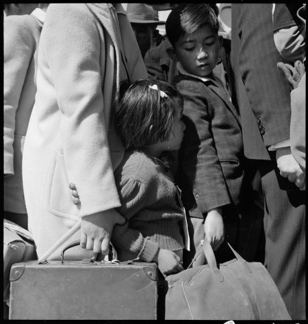 Byron, California. Third generation of American children of Japanese ancestry in crowd awaiting the . . .
